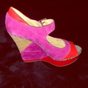 Red and hot pink wedge heels.
